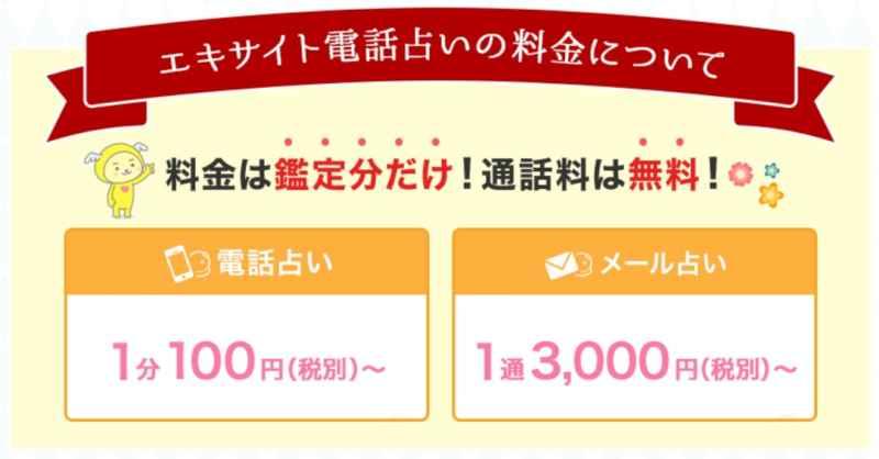 エキサイト電話占いの鑑定料の画像