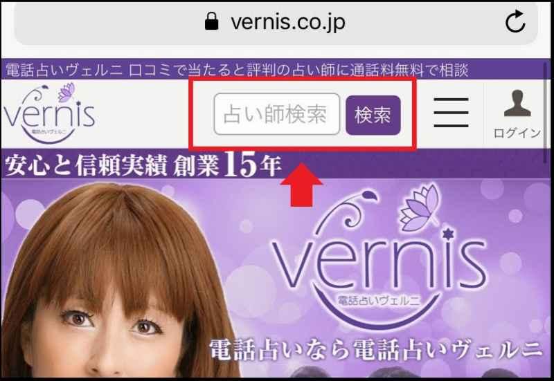 ヴェルニの検索画面